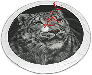 LAIUE Big Cats Snow Leopards Christmas Tree Skirt Thick Faux Fur Edge Tree Skirt for Xmas Tree Holiday Decorations 30/36/48inch