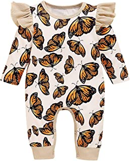 HHyyq Baby Body Jungen Mädchen Super süße Schmetterling Druck Rüsche Strampler,Unisex Komfortabel und warm Herbst Set,Interessant LangeÄrmel Jumpsuit Outfit für Neugeborene Overall Winter