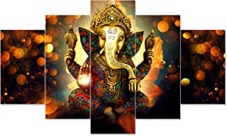 Saumic Craft Set Of 5 Ganesha Ganesh Ji Religious Framed Wall Paintings For Home Decorations , Living Room , Hall , Office...