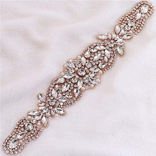 Seba5 Home Mode Rose Gold Weiß Opal Kristall Strass Applikationen für Hochzeitskleid Gürtel Kopfstücke Taschen (11,6x2, Rose Gold)