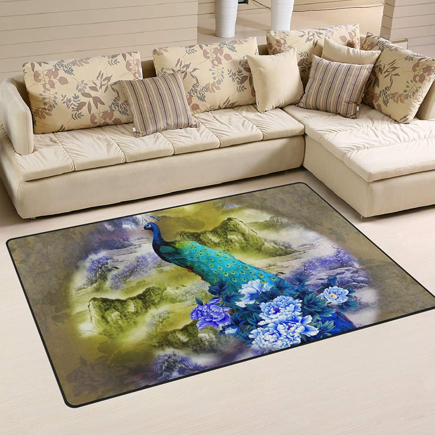 Area Rugs Doormats Flower Peony and Peacock 5'x3'3 (60x39 Inches) Non-Slip Floor Mat Soft Carpet for Living Dining Bedroom Home