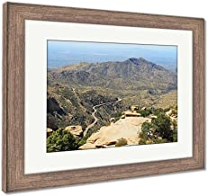 Ashley Framed Prints View Towards Tucson of Winding Road from Windy Point On Mount Lemmon in Tucson, Wall Art Home Decoration, Color, 30x35 (Frame Size), Rustic Barn Wood Frame, AG6550048