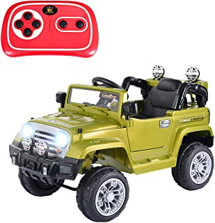 Costzon Ride On Jeep Car, 12V 2WD Powered Truck, Manual/ Parental Remote Control Modes Truck Vehicle with Headlights, MP3 Port, Music, Horn for Kids (Green Jeep)