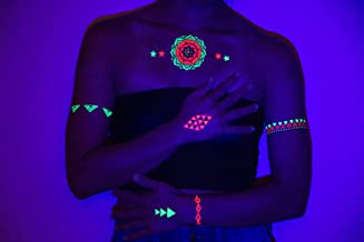 UV Blacklight Tattoos - Glow In The Dark Rave Temporary Tattoos TribeTats - Rainbow Neon Henna Inspired Body Art - Includes: Armbands, Stars, Bracelets - Party Accessories