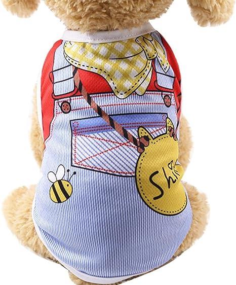 Ropa del Chaleco del Perro de Mascota, SunGren Camisa del Chaleco del Gato del Perrito Correa Falsa para Mascotas (XS, Azul)