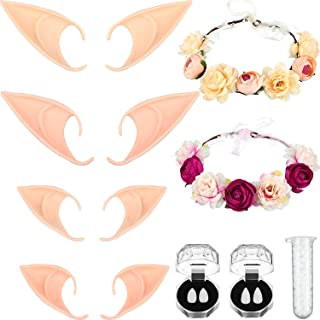 Sponsored Ad - Sumind 8 Pieces of Elf Cosplay Costume Including 4 Pairs of Fairy Latex Elf Soft Ears with 2 Garlands, 2 Pa...