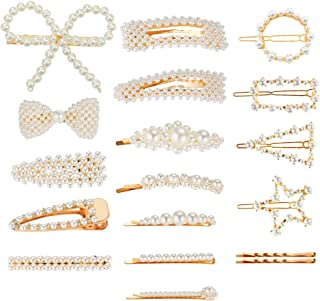 VERSCOS Clip Pearl Hair Barrettes For Girls | 18pcs Fashion Sweet Artificial Pearl Hair Clips Geometric Barrette Decorativ...
