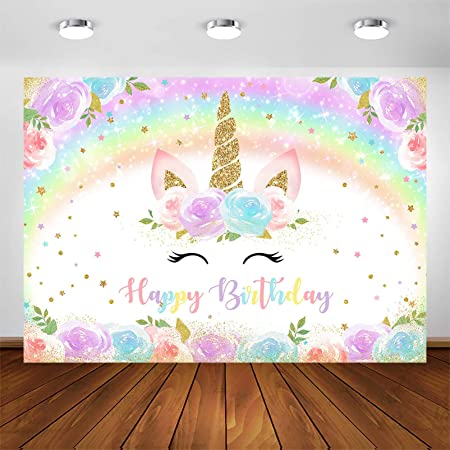 VVM 5x7ft Backdrop Unicorn Color Cloud Photography Background Themed Birthday Party Photo Shoot Props MVV150