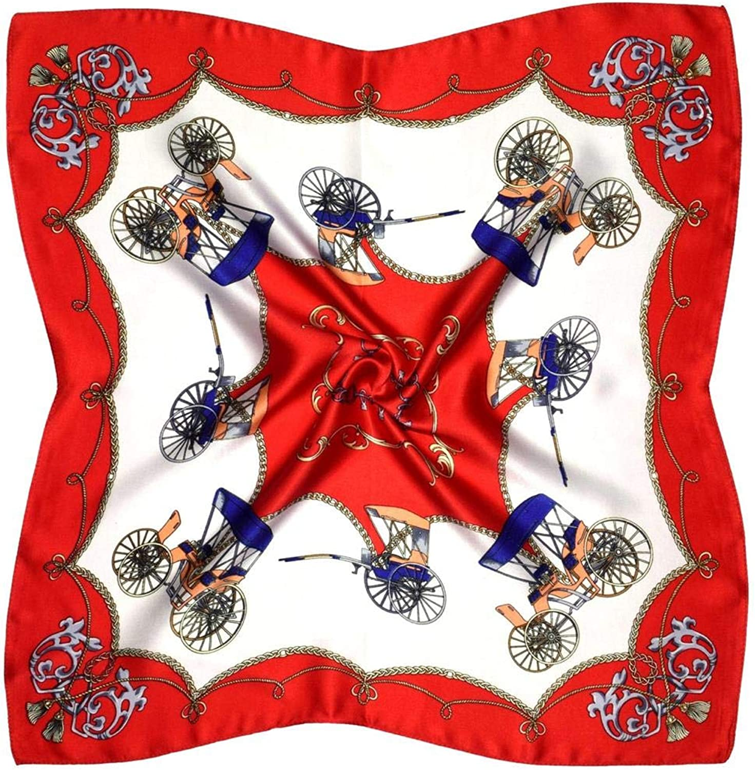 White Red Carriage Print Small Thick Silk Square Scarf