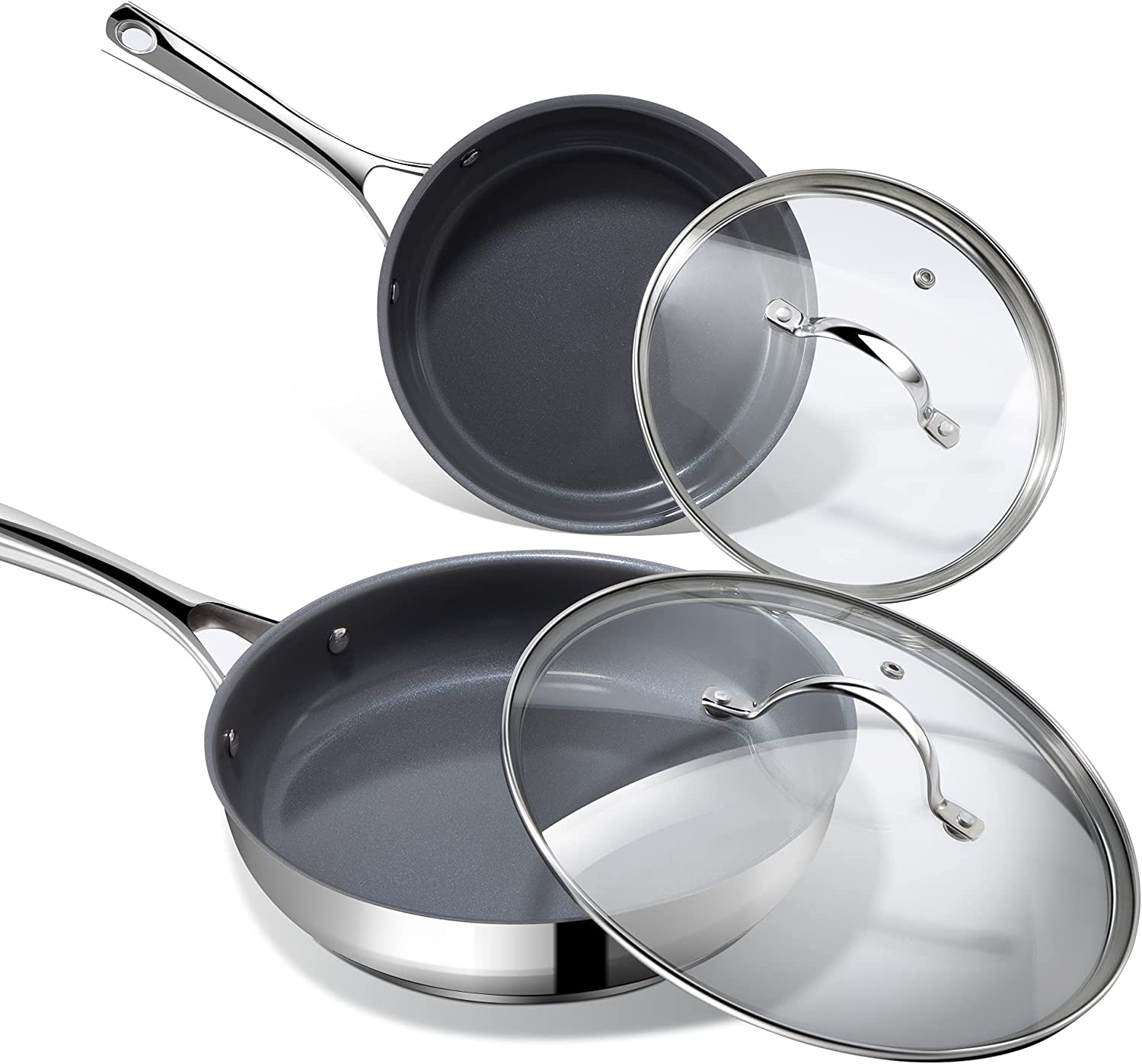 Nonstick Frying Pans with Lids, REDMOND Stainless Steel Skillets 8 inch & 10...