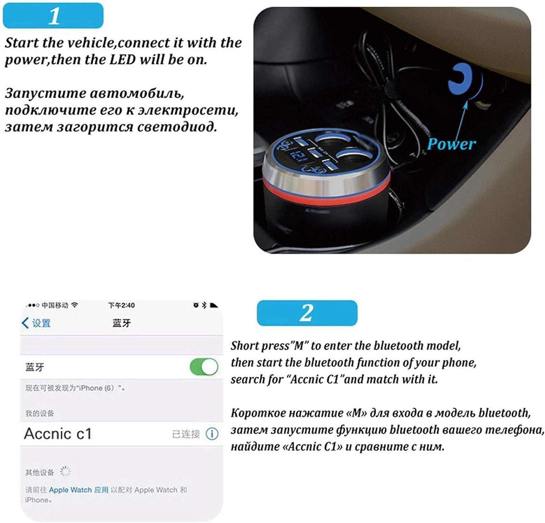 Color Name : NO.2 Auto Accendino Accoglice Bluetooth Vivafree Car Sigaretta accendino Lettore MP3 Player wireless 3 USB FM Trasmettitore Auto Music Player