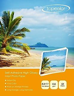 "Topcolor Self-Adhesive High Glossy Inkjet Photo Sticker Paper 8.5""x11"" (206 x.."