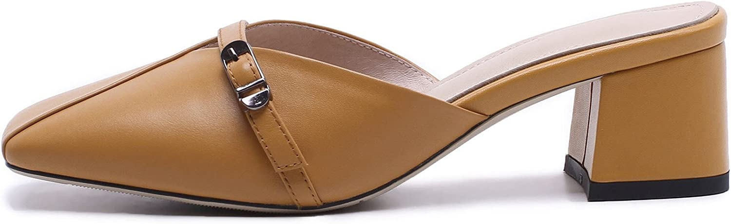 Women's shoes Slip-ONS Leather Sandals 2018 Chunky Heel Leather Belt Buckle Slippers for Casual Yellow, White