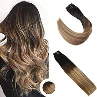 Ugeat Clip on Hair Extensions Human Hair 120g 10PCS Balayage Off Black to Medium Brown with Golden Blonde 14 Inch Remy Hair Clip in Extensions Full Head