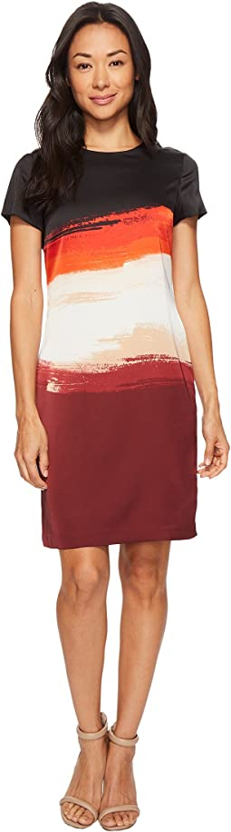 Vince Camuto - Cap Sleeve Brushstroke Horizons Shift Dress