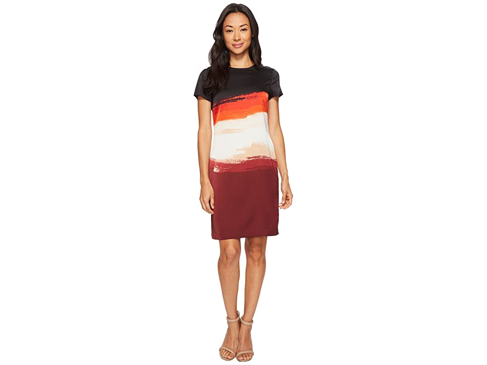 Vince Camuto Cap Sleeve Brushstroke Horizons Shift Dress (Deep Claret) Women
