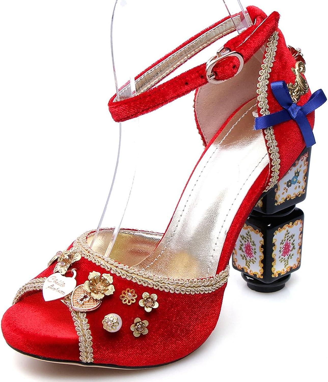 DecoStain Women's Suede Peep Toe Ankle Strap Block High Heel Platform Sandals Party Pumps shoes