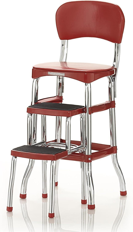 Amazon.com Cosco Retro Counter Chair/Step Stool, Sliding, Red ...
