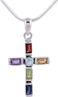Rhodium Plated .925 Sterling Silver Multi Gemstone Cross Necklaces, Colorful Cross'
