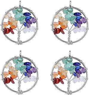 SPUNKYCHARMS Wholesale 4 PCS Tree of Life Charm Natural Quartz Pendant 7 Chakra Healing Reiki Charm Bulk for Jewelry Making (Silver)