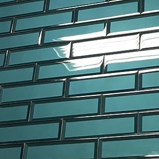 2.5 x 8 Temptation Teal Glass Tile 3D Backsplash Wall Bath (5 Piece Pack)