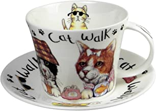 Roy Kirkham Breakfast Teacup and Saucer Set Fine Bone China Cat Walk England
