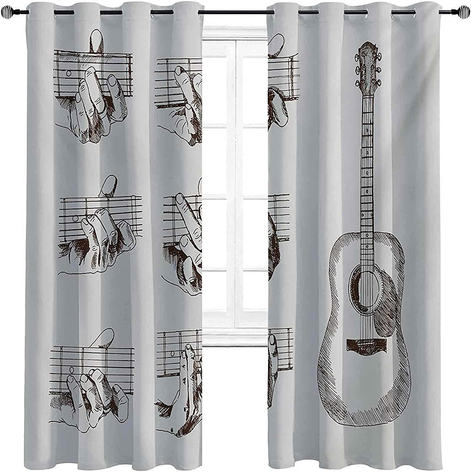 low-pricing Guitar Room Darkened Insulation Grommet Curtain Styl Sketch Complete Free Shipping Art