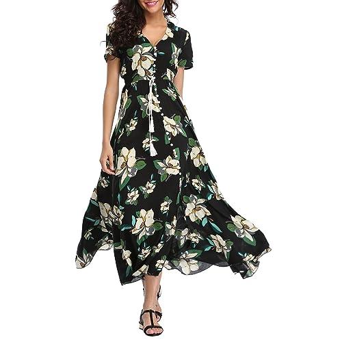 0d2bfcccfdf VOGMATE Femme Robe Chic Longue Col V à Fleur Manches Courtes en Coton Robe  Maxi de