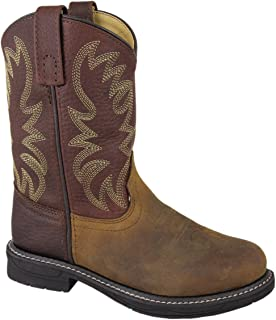 Smoky Mountain Childrens Buffalo Wellington Oiled Distressed Leather Round Toe Brown Western Cowboy Boot