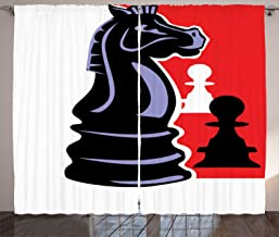 Ambesonne Board Game Curtains, Chess Themed Pieces Design Pawn Silhouette and Knight, Living Room Bedroom Window Drapes 2 Panel Set, 108