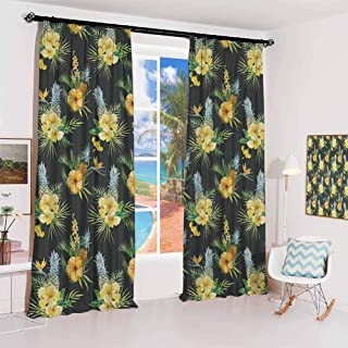 GUUVOR Hawaii Sunshade Sunscreen Curtain Tropical Flowers Blooming Frangipani Plumeria Botanical Bouquet Pineapple Fruit S...