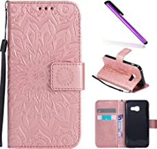 HMTECH Samsung Galaxy A3 2017 case Sun Flower Embossed Floral Wallet Case with Card Slots Kickstand PU Leather Flip Stand ...