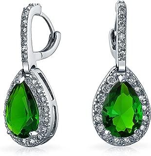 Coupe rectangulaire Blanc 18K Or Plaqué Zircone cubique zircone vert émeraude Boucles d/'oreilles pendantes