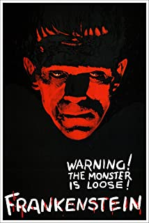 American Gift Services - Frankenstein Warning The Monster is Loose Vintage Horror Movie Poster - 24x36