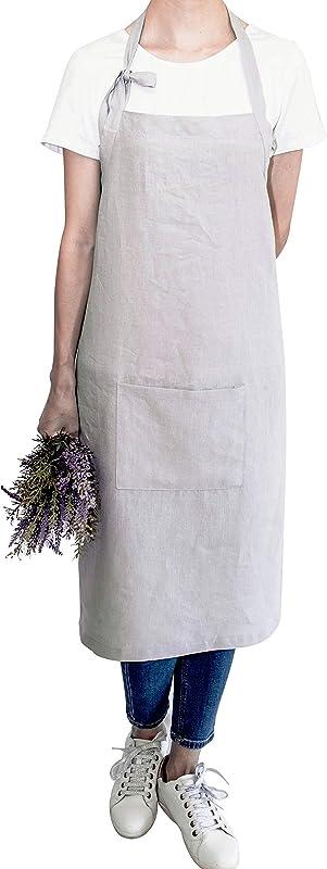 LK PureLife Stonewashed French Linen Apron Adjustable With Pocket For Women Men Florist Workshop Stylist Artist Barista And Baker Solid Natural Dove Grey Color