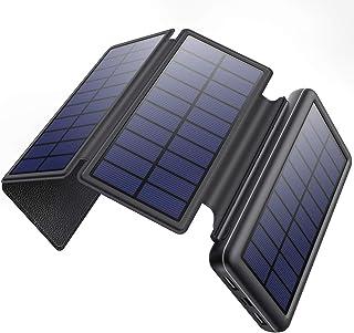 【26800mAh&4枚ソーラパネル&MicroUSB/Type-C二つ入力ポート】ソーラーモバイルバッテリー 大容量 ソーラーチャージャー モバイルバッテリー 折り畳み式 ソーラー充電器 急速充電 2台同時充電 スマホ充電器 災害/旅行/ア...