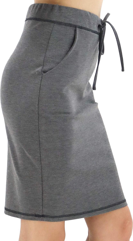 LuluBerry Women High Waist Drawstring Midi Length Weekender Pencil Skirt with Pocket