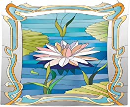Ambesonne Art Nouveau Tapestry King Size, Lotus on The Water Baroque Avant Garde Classic Architecture Pattern, Wall Hanging Bedspread Bed Cover Wall Decor, 104