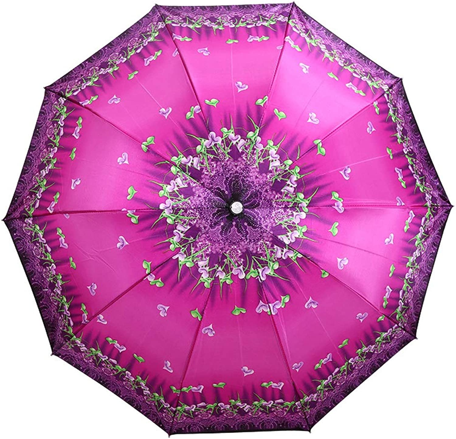 Travel Umbrella with 10 Reinforced Fiberglass Ribs Windproof Sun Block Rain (color   Purple, Size   Free)