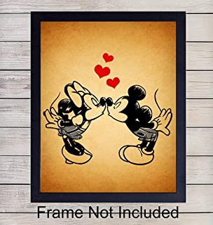 Mickey Mouse and Minnie Mouse in Love Unframed Wall Art Print - Perfect Vintage Gift For Disney and Disneyworld Fans - Great Home Decor For Nursery, Girls or Boys Room - Ready to Frame (8X10) Photo