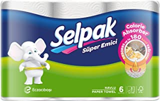 Selpak Calorie Absorber Kitchen Paper Towel 70 Sheets x 3ply, Pack of 6 Rolls