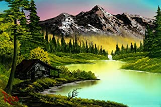 Bob Ross Mountain Retreat Painting Cool Huge Large Giant Poster Art 36x54