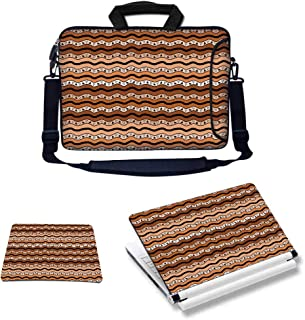 17-17.3 inch Custom Laptop Bundle Deal - Includes Bag with Side Pocket Skin Sticker & Mouse Pad, Tribal with Wavy Lines Geometric Triangles Kenyan Art