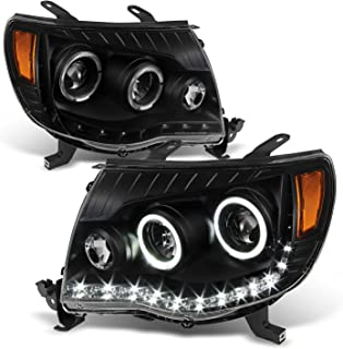 For 2005-2011 Toyota Tacoma Black Bezel Dual Halo Ring DRL Daylight LED Projector Headlights Pair Left+Right