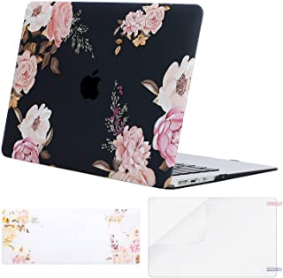MOSISO Plastic Pattern Hard Shell Case & Keyboard Cover & Screen Protector Compatible with MacBook Air 11 inch (Models: A1370 & A1465), Peony on Transparent Black Base