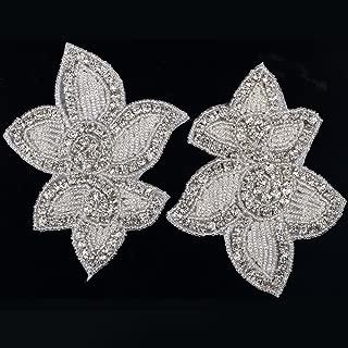 DM9 Pair of Gorgeous Iron On Sew On Diamante Crystal Beaded Motif Wedding Applique Patch