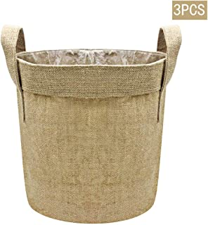 HZYUN Flower/Vegetable/Organic Jute Plant Grow Bags Pots -with Handles - 5 Gallon Fabric Grow Bags, Pack for 3