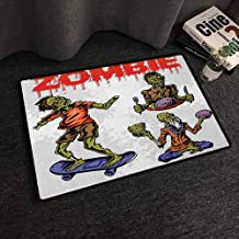 Xlcsomf Pet Door mat Zombie Protective Floor Dead Man Eating Brain Cannibal Meditating Skate Boarding Graphic Pattern Olive Green Red Dust,W24 x L35
