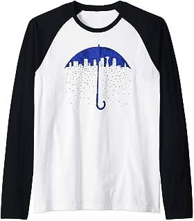 Seattle Skyline Umbrella Rain Graphic Art T Shirt Raglan Baseball Tee
