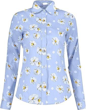 8b0b3eef9 DOKKIA Women's Tops Tropical Casual Blouses Long Sleeve Work Button Up  Dress Beach Aloha Hawaiian Shirts